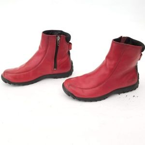 Simple Red Leather Zip Up Boots Rubber Sole Size 6